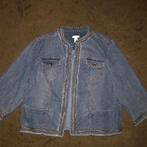 chico's chain detailed denim jacket